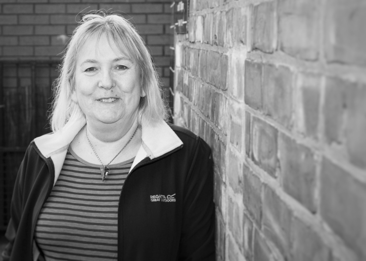 Black and white image of volunteer researcher Sandra Barlow